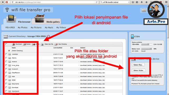 cara memindahkan file dari komputer ke android dengan wifi file transfer pro