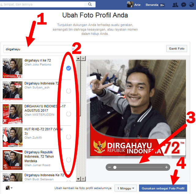 cara pasang bingkai dirgahayu RI di foto profil facebook