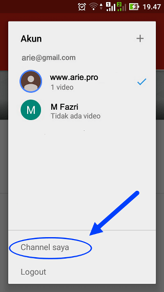 buat channel baru youtube di android