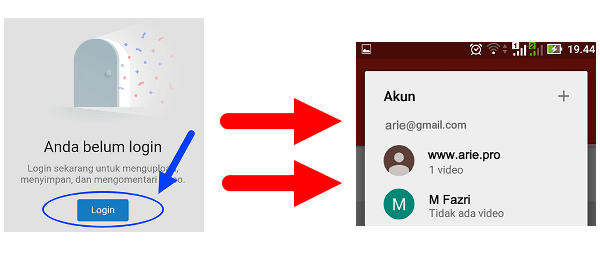 login channel youtube di android