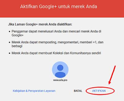 aktifkan halaman google plus