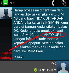 kode upgrade kartu 3G ke 4G