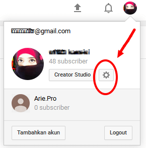 setelan akun channel youtube