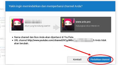 konfirmasi pindahkan channel ke akun merek