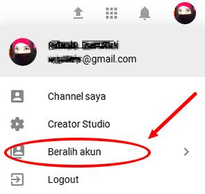 beralih akun channel youtube ke akun lainnya