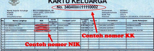 contoh nomor NIK dan KK untuk registrasi ulang nomor handphone seluler