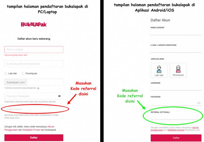 gambar halaman register bukalapak di web dan aplikasi smartphone