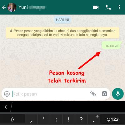 cara mudah kirim pesan kosong di whatsapp