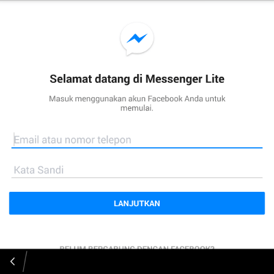 cara daftar facebook di messenger lite