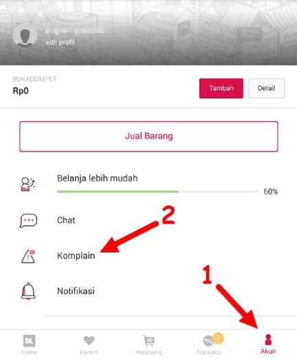 cara melihat daftar komplain di aplikasi bukalapak