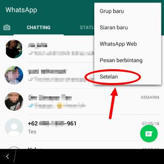 cara masuk ke settingan WhatsApp
