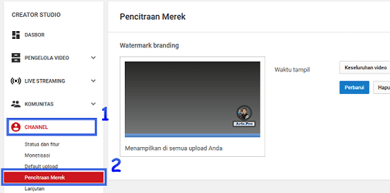membuat tombol subscribe di pojok kanan bawah video youtube