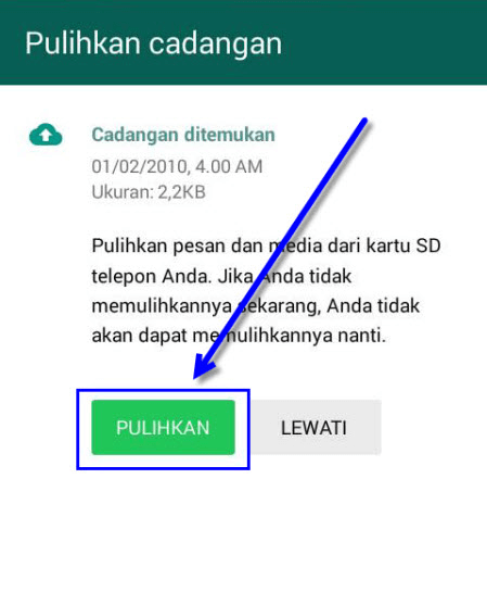 cara restore data whatsapp