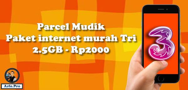 paket internet parcel mudik tri Rp2000 kuota 2.5GB Free WA