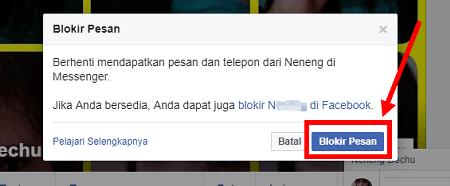 cara menghilangkan tombol pesan facebook