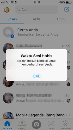cara mengeluarkan sesi aktif di aplikasi messenger