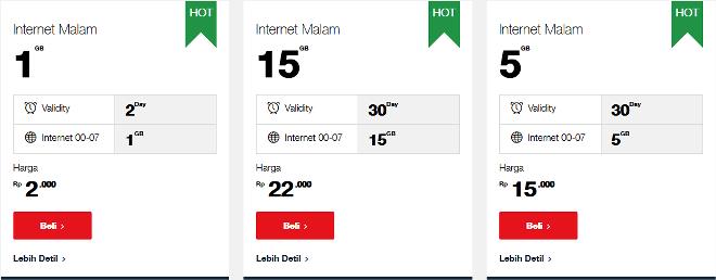 daftar harga paket internet malam telkomsel