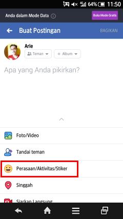 cara menambahkan stiker saat membuat status facebook