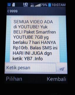daftar paket internet youtube lewat sms