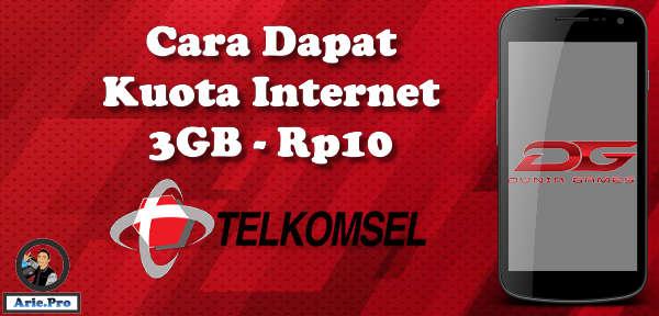 cara dapat kuota internet 3GB Rp10 dari telkomsel dan dunia games