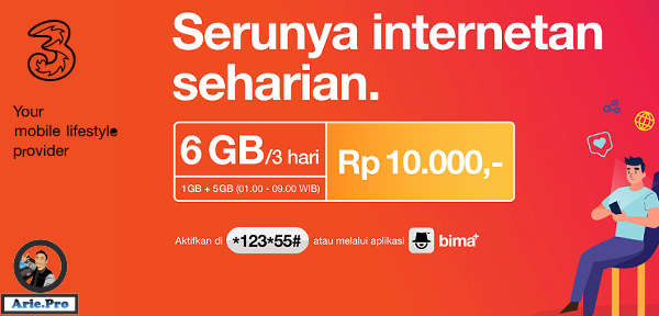 cara daftar paket internet harian tri 6GB cuma Rp10rb