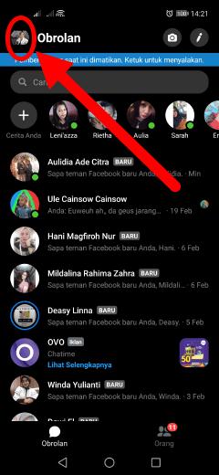 cara menghilangkan bulatan dari aplikasi messenger di android