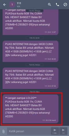 cara sms daftar paket internet tri 6GB Rp6rb