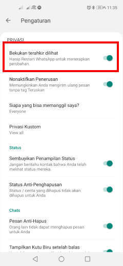 cara mengatur tanggal terakhir dilihat whatsapp iphone