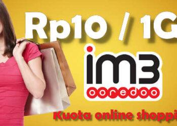 Kuota internet 1GB cuma Rp10 di im3 ooredoo untuk shopping
