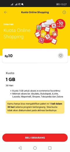 kode paket internet murah im3 kuota 1GB cuma Rp10