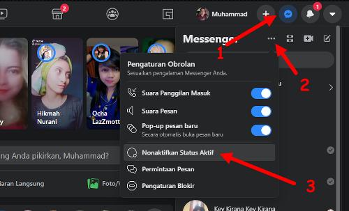 cara menonaktifkan status online di facebook web