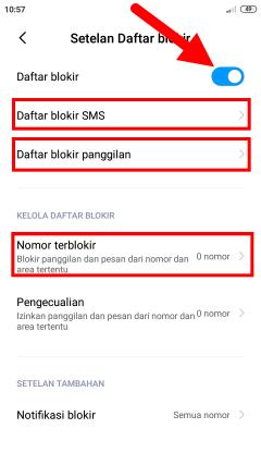blokir panggilan dan sms nomor tidak dikenal dan tanpa nomor